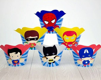 Super Heroes Cupcake or Muffin Wrappers. 24 Birthday Wrappers.