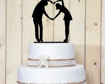 Romantic Acrylic Couple Cake Topper. Wedding or Anniversary Cake Topper. 17.7cmx12cm