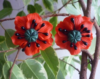 poppies earrings decorated with flowers red poppies from polymer clay red poppies gift handmade earrings
