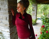 Fitted top, Long sleeved festival clothes, Spring blouse for her, Boho wear for women, Maroon woman shirt Open ruffle neck Bordeaux clothing