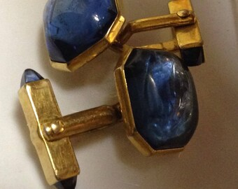 Swank blue squared Moonglow beautiful Cufflinks 40's-50's estate saved