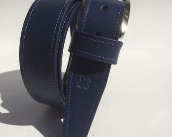 Blue leather belt - Blue leather belt