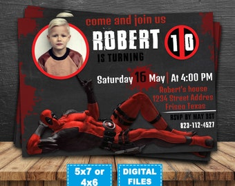 Deadpool invitation, deadpool birthday invitation, superhero printable invite, deadpool birthday party, deadpool printable, deadpool digital
