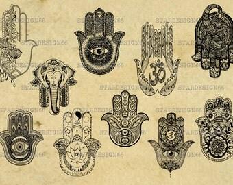 Digital SVG PNG JPG hamsa, hamsa hand, boho hand, hand of fatima, hand of miriam, peace, clipart, vector, silhouette, instant download