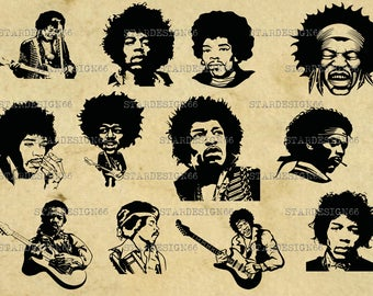 Digital SVG PNG JPG Jimi Hendrix, silhouette, vector, clipart, instant download
