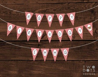 Printable Custom Gingham Happy Birthday Bunting - Red Gingham, Teddy Bear Birthday Bunting, Custom Bunting, Teddy Bears' Picnic
