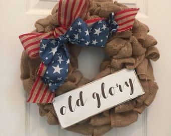 "Patriotic ""old glory"" wreath add on, americana wreath, Memorial Day decor, patriotic decor"