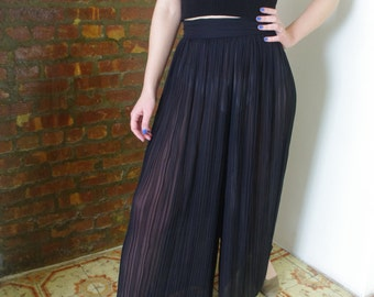 Pleated High Waisted Sheer Pallazo Pants