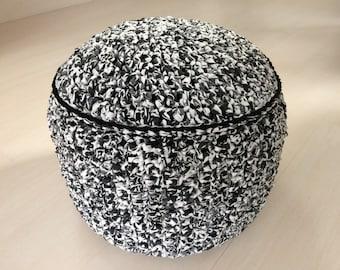 Black, grey, white monochrome crocheted firm base pouffe pouf footstool knitted ottoman