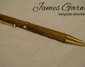 24kt gold bocote wood ballpoint pen, great birthday present for men or women,