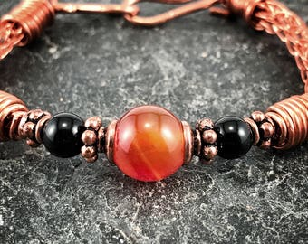 Carnelian Weaved Copper Bracelets For Women Handmade Jewelry Homemade Wrap Bracelets Handcrafted gifts for her Wire wrapped Jewelry Store