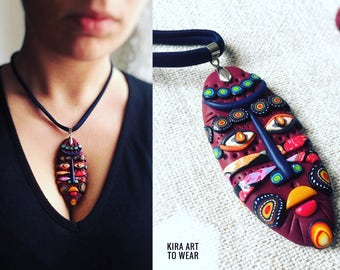 Ethnic mask pendant necklace in polymer clay