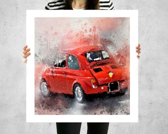 Fiat 500 abarth, painted canvas art, big canvas art, fiat bambino, luigi, classic old cars, classic vintage cars, canvas wall art set