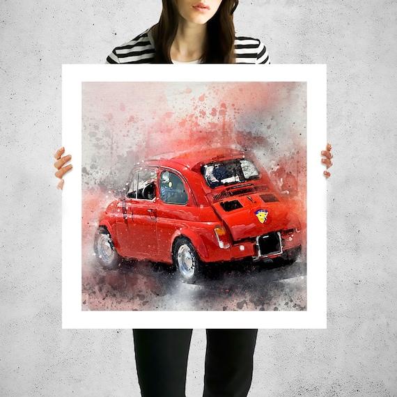 Fiat 500 abarth bemalte leinwand kunst leinwand kunst fiat - Bemalte leinwande ...