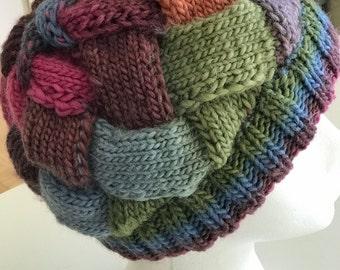 Woman's Multicolored Entrelac Hat