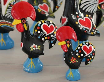 Portuguese Rooster size XS and S. Barcelos rooster, traditional pattern, totally handpainted, Good Luck Rooster, gift.