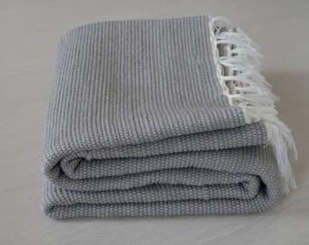 Large Woven Rag Rug, gray, Handwoven Carpet, Handwoven Rug, Throw Rug, Boho Rug, Portuguese Cotton Rug.