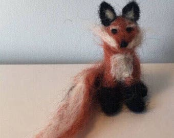 Needle felted, Waldorf, wool, sitting red fox - toy - decoration - gift