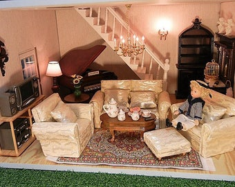 Dolls House miniature living room set 7pcs