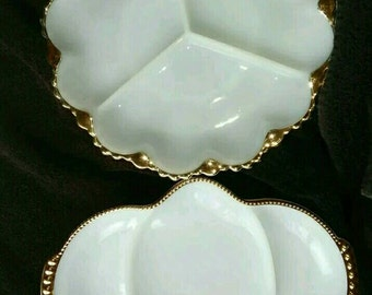 Vintage Fire King Milk Glass with Gold Trim Serving/Relish Dishes - Set of 2