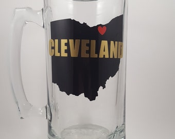 CLEVELAND Beer Mug- I love Cleveland 24oz mug - Beer Stein - Beer Lover - Great Gift - Cleveland Beer - Ohio