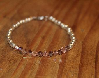 Pink & Silver Beaded Bracelet