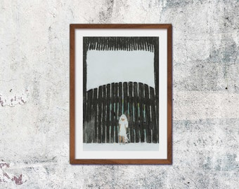 Before the gate A4 print illustration drawing graphic coal