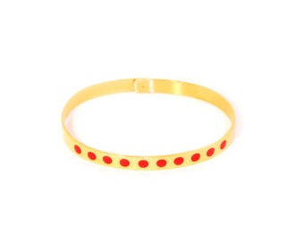 Golden Bracelet/bangle rounds red enamel