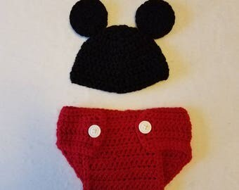 Mickey Mouse Diaper Cover & Hat
