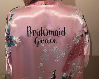 SALE x1 white x3 Pink bridal gowns, bridal robes personalised for you kimono robe bride wedding bridesmaids