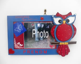 "Photo frame to personalize by a name ""owl"" - blue and red"