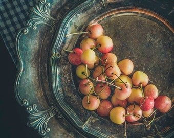 Grandma's Vintage Plate, Garden Cherries, Photography Artwork