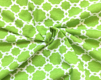 Knit Fabric, Jersey Knit Fabric, Fabric by the Yard, Stretch Fabric, Cotton Knit Fabric - Green Quarterfoil