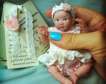 OOAK Polimer clay baby Girl 4.7 in by V.Vihareva-Vechenkina