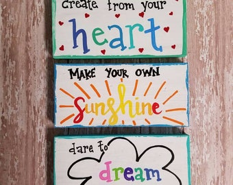 Small inspirational colorful signs