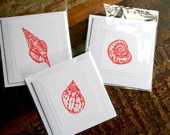 Hand-made cards with screen print shell images