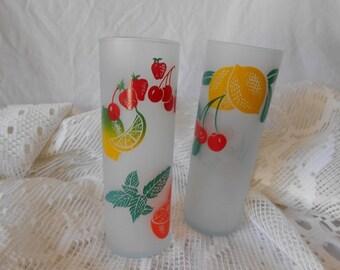 2 Vintage tall slender fruity frosted  glasses