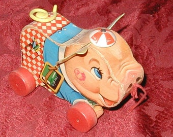 Pig Pull toy vintage fisher price kids collectible rare