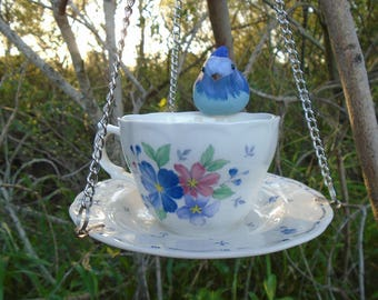 Country Blue and Brew! Hand Crafted, Coffee Cup and Saucer, Hanging, Bird Feeder