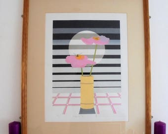 Original Serigraph Limited Edition Print.Circa 1920's Vase of pink flowers (''view from the top'') edition 191/300.Art Deco Silkscreen