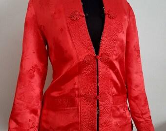 Black Satin Reversible Vintage Brocade Asian Chinese Jacket with Frog Closure
