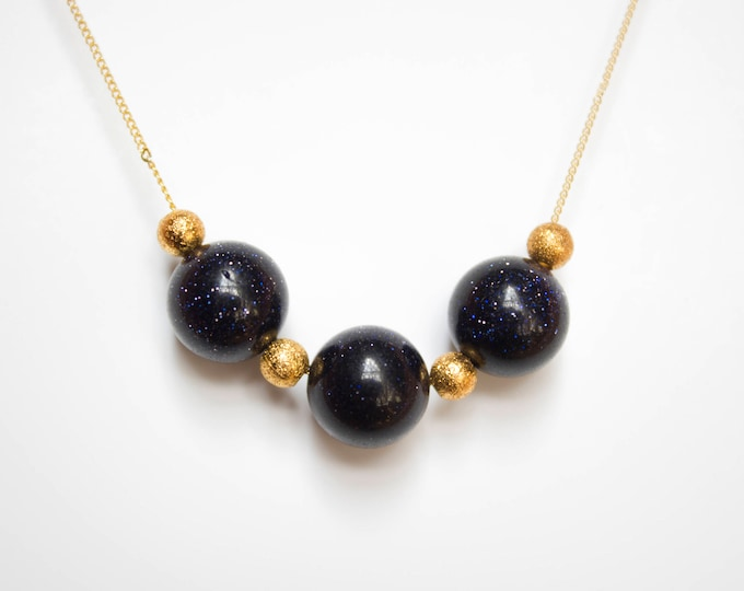 Blue Sandstone and Gold Beads Necklace