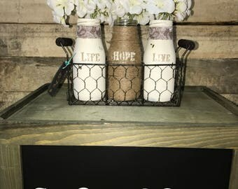 Wire Basket with Tiny Milk Jugs