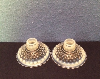 Vintage Anchor Hocking Moonstone Candle Holders, Set of Two