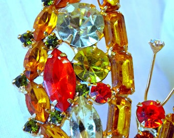 Juliana Hyacinth, topaz, orange & olivine Butterfly, massive Delizza and Elster figural butterfly brooch