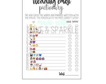 Bridal Shower Emoji Pictionary – Bridal Shower Printable Game – Wedding Emoji Pictionary – Printable Bridal Game –Printable Emoji Pictionary