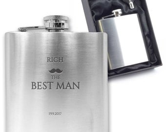 Personalised engraved BEST MAN hip flask wedding thank you gift idea, stainless steel presentation box - MU2