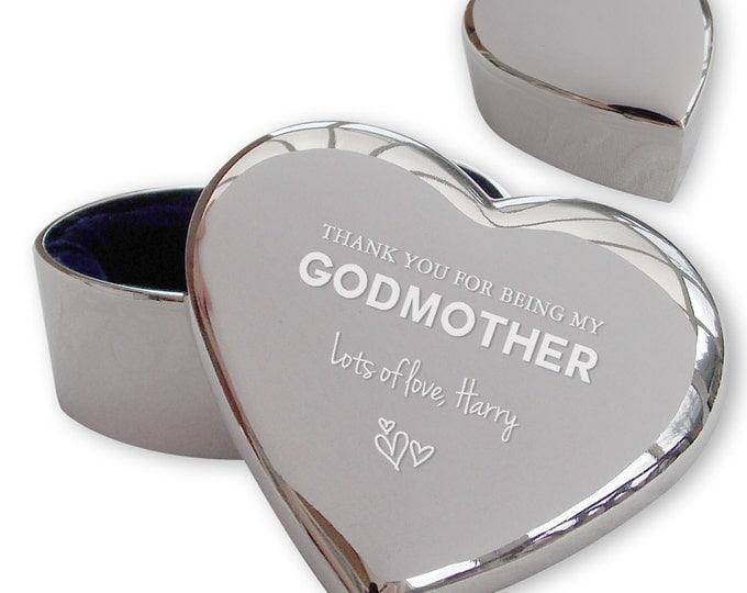 Personalised engraved GODMOTHER heart shaped trinket box christening, baptism gift idea  - TRG2