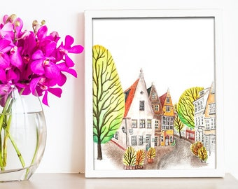 Quaint Village Watercolor Print
