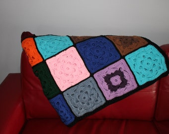 Flower Pattern Patchwork Crocheted Afghan Blanket Throw
